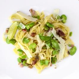 Fresh Broad Beans, pancetta and truffled pecorino Linguine