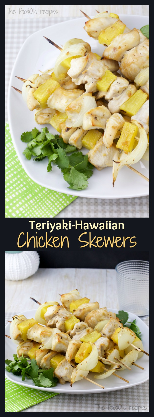 Light Hawaiian Teriyaki Chicken Skewers is a perfect match of 2 cultures; a Japanese touch consisting in a teriyaki marinated chicken with an Hawaiian flair with its grilled pineapple pieces. A dynamic fresh bite guaranteed!
