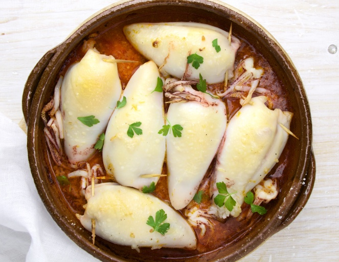 Spanish Style Stuffed Squids