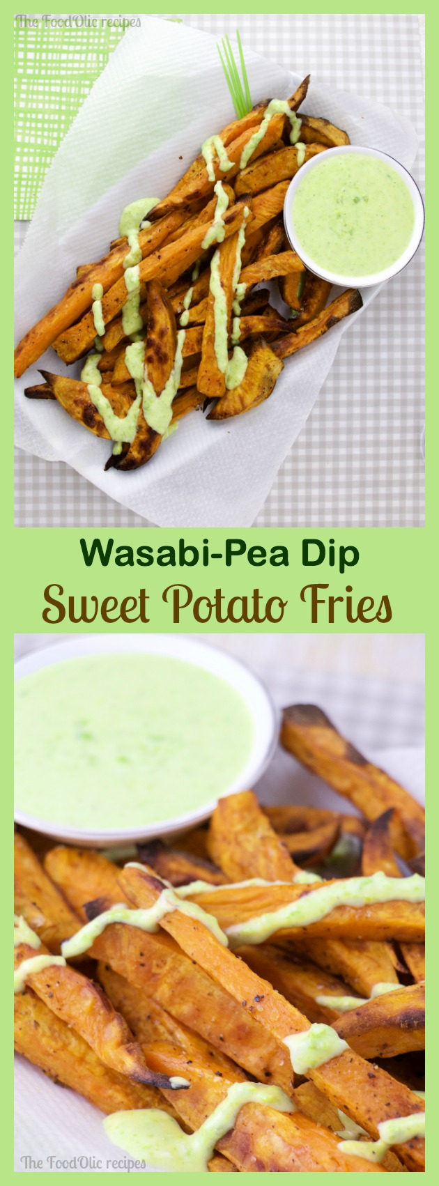 Sweet Potato Fries with a Wasabi-Pea Dip is a dynamic duo of colors and flavors. The sweetness of the fries is balanced to perfection with the spicy green wasabi-pea dip.
