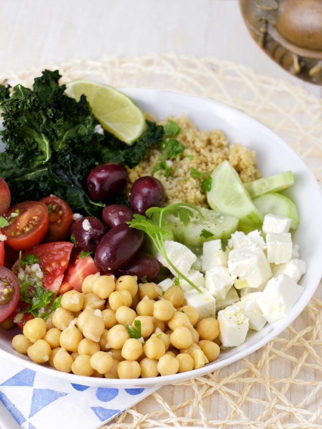 greek vegetarian bowl chickpeas