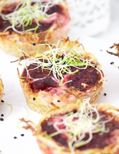 Beet and goat cheese mini quiches