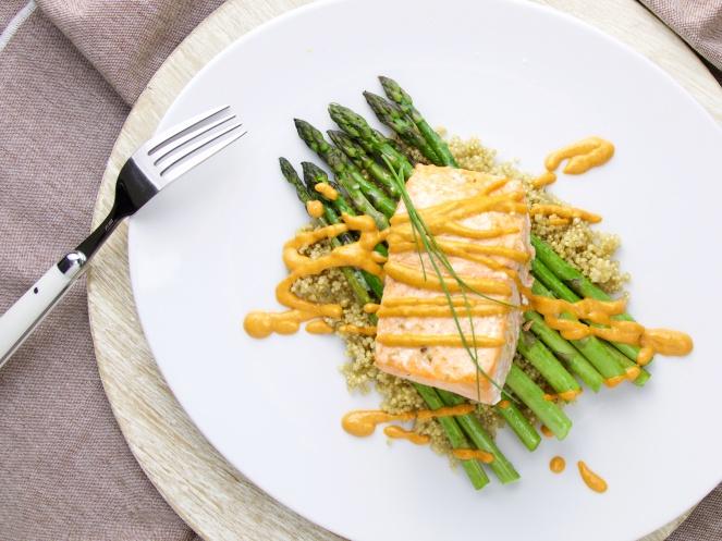 Salmon on asparagus and romesco
