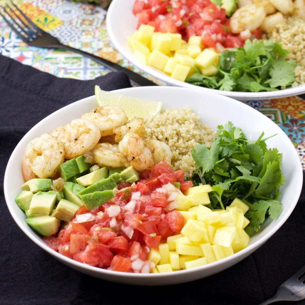 Mexican Shrimps tequila lime avocado mango cilantro and pico de gallo