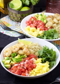 Tequila lime shrimp bowl