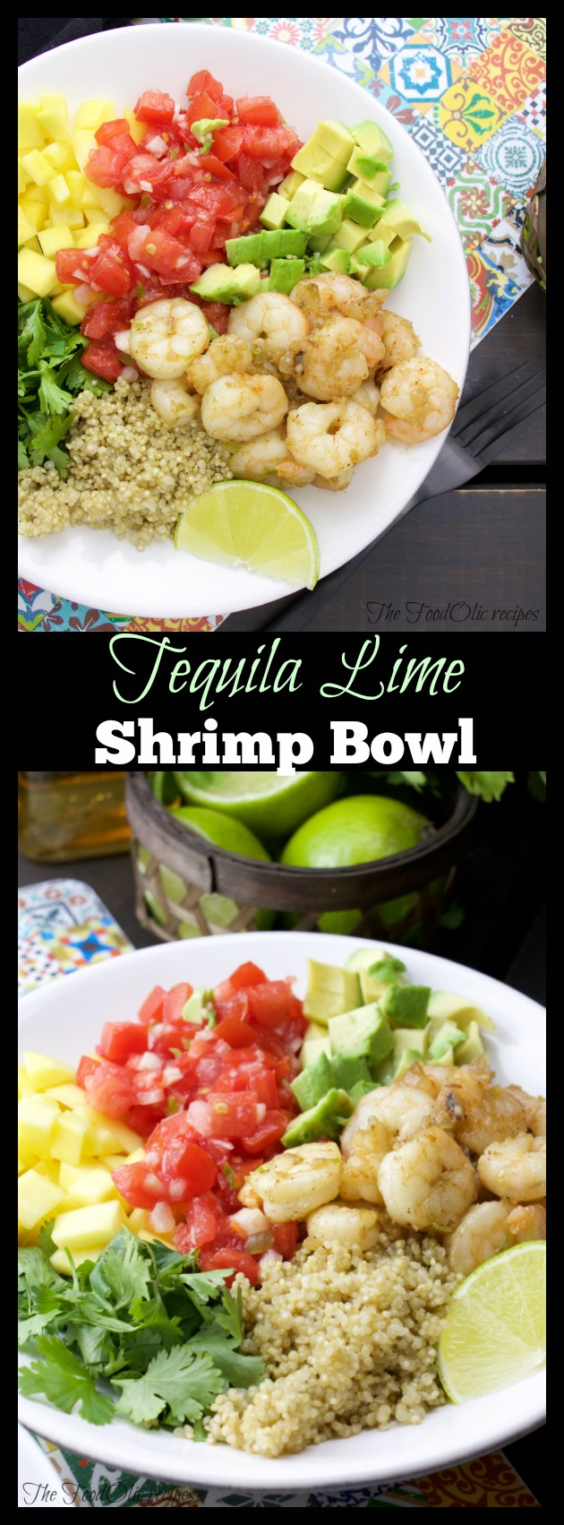 Tequila lime shrimp bowl with avocado, pico de gallo, avocado, quinoa and cilantro