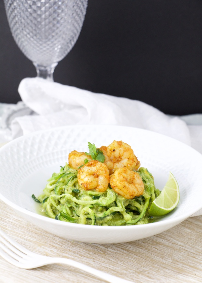 Creamy Cilantro Zoodles with paprika shrimps (5)