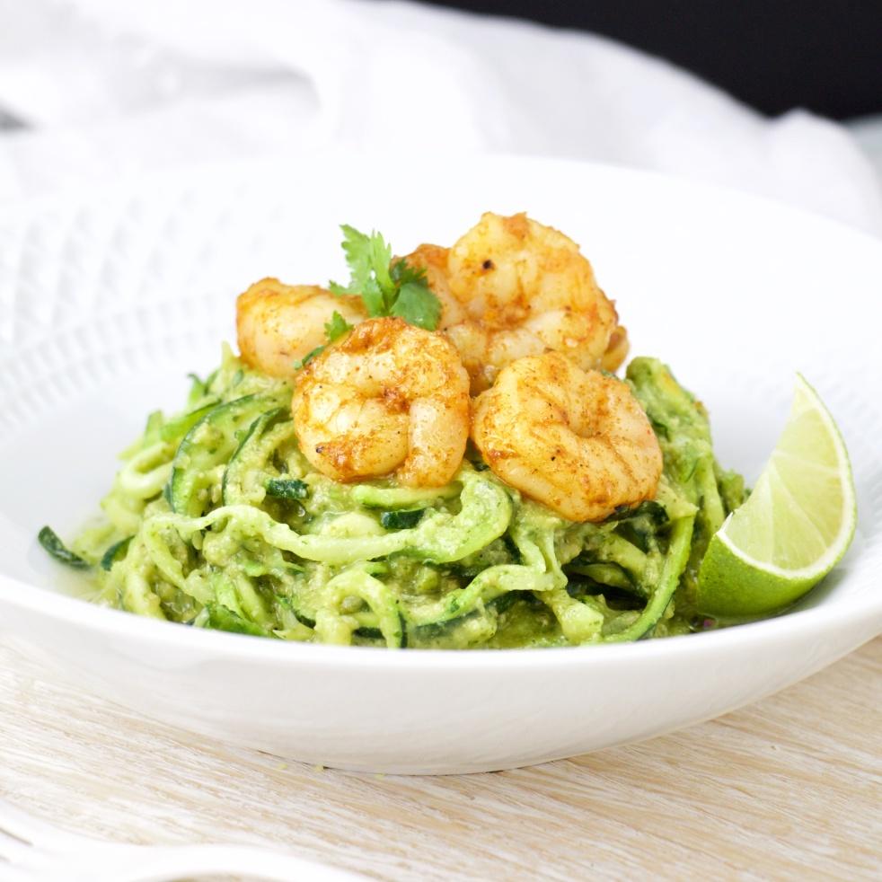 cilantro avocado pesto zoodles with paprika shrimps