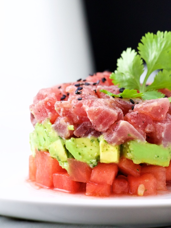 Tuna, avocado, watermelon tartare