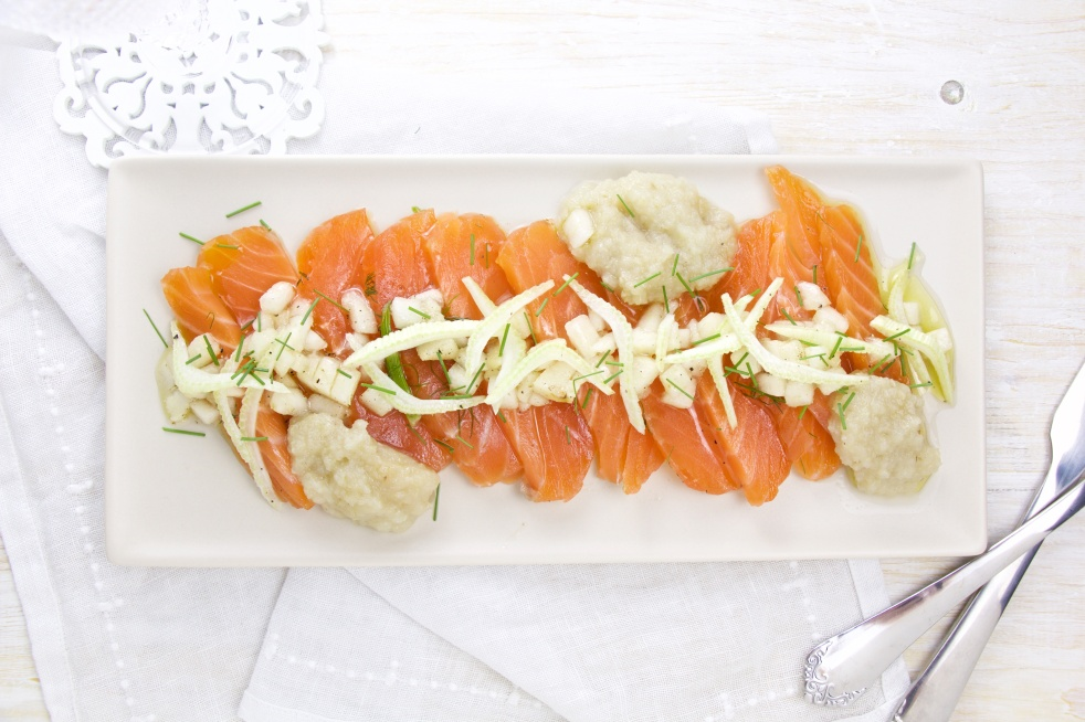 twice marinated salmon pear fennel