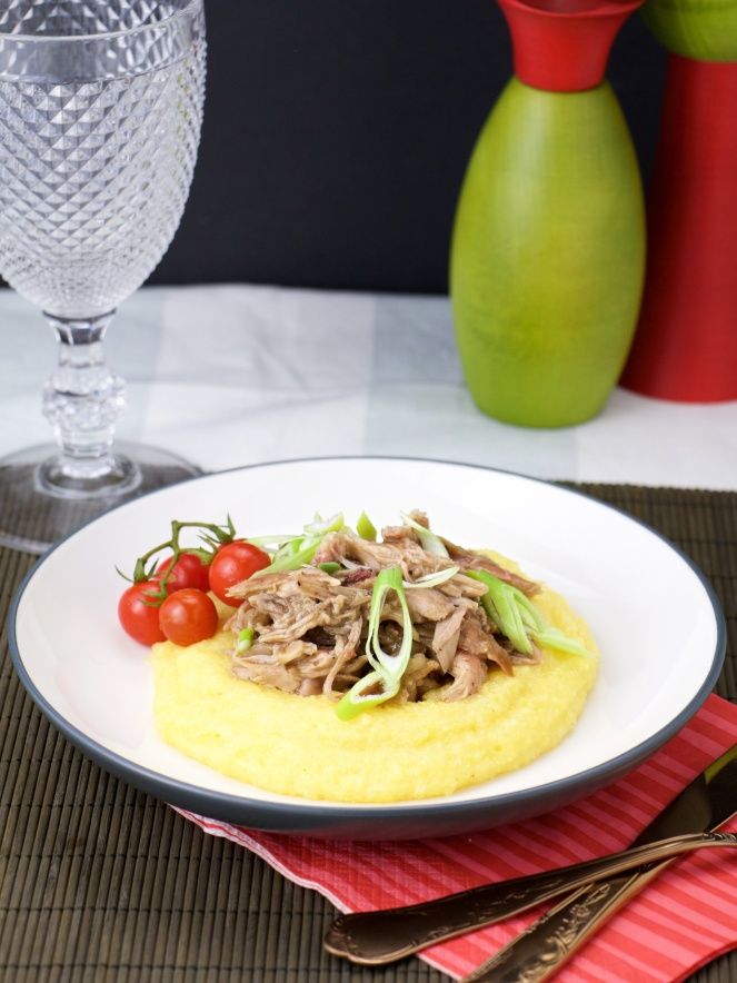 Spicy & Smoky pulled pork on polenta