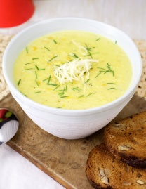 Corn chowder with aged cheddar