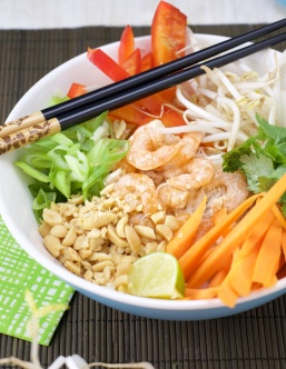 Lemongrass coconut vermicelli shrimp bowl