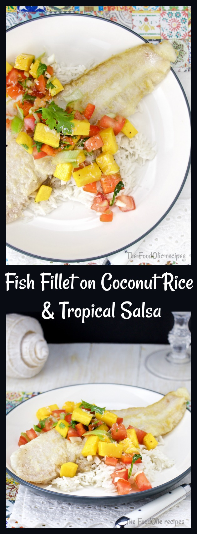 tropical salsa grilled fish on coconut rice