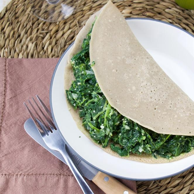 Spinach-feta Buckwheat crepe