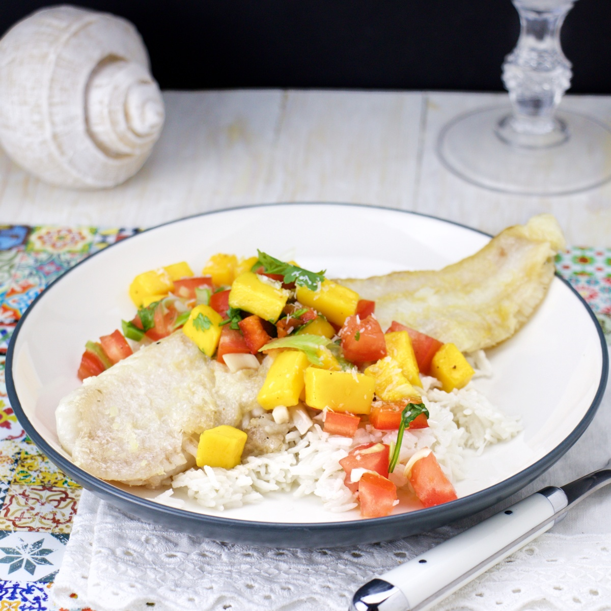 Grilled Fish Fillet on Coconut Rice & Tropical Salsa