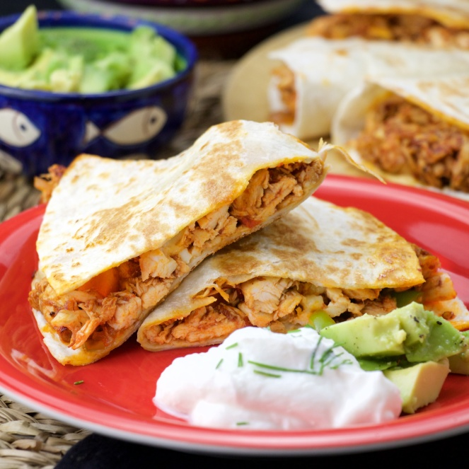 Mexican chipotle chicken quesadillas
